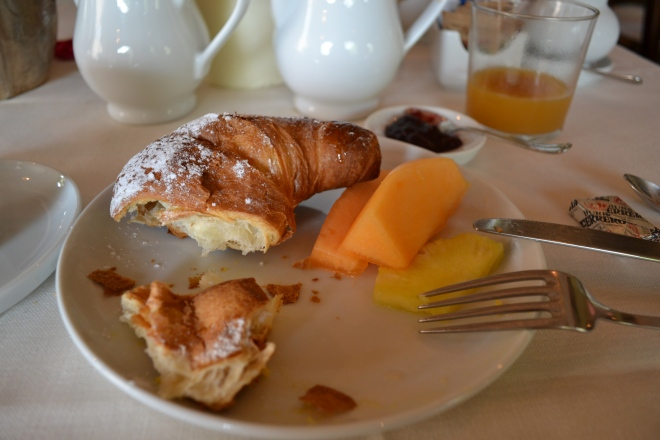 continental breakfast at villa cicolina in tuscany, montepulciano, italy