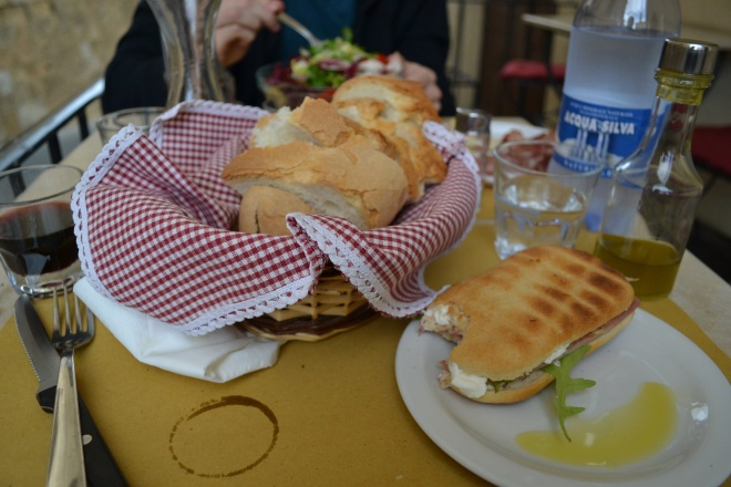 italian lunch wine bread  in tuscany, montepulciano, italy