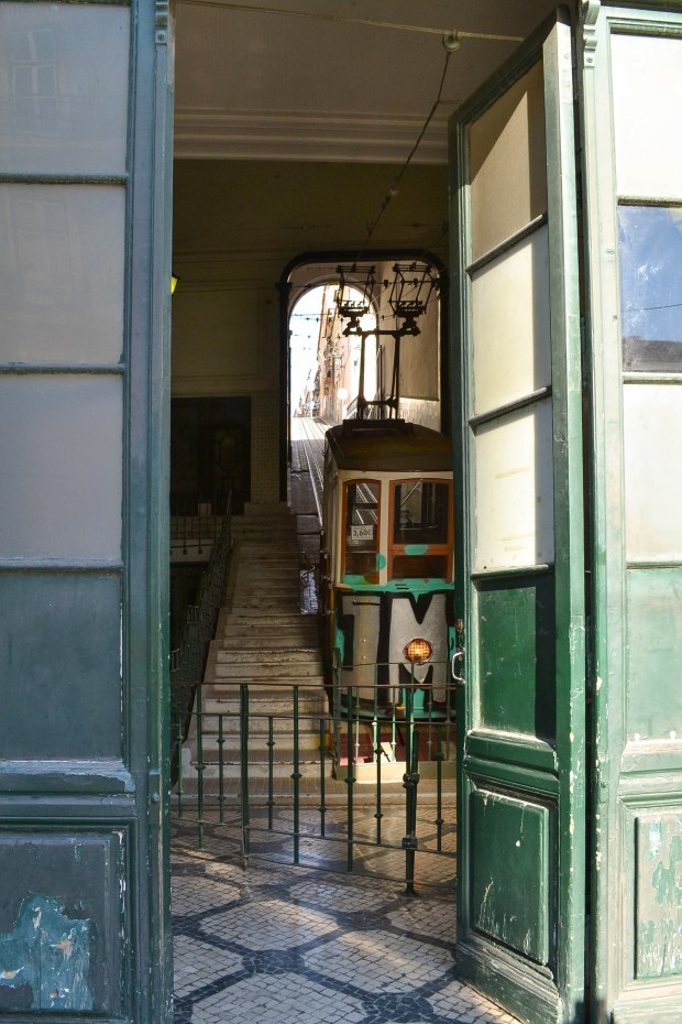 Funicular on bica street in lisbon, portugal