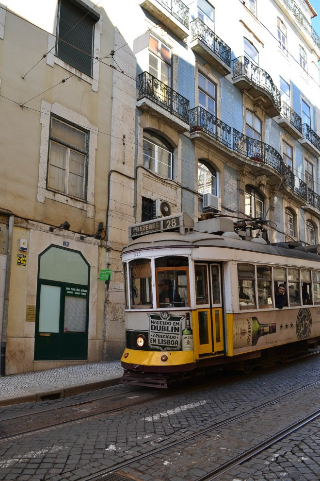 trolley car tram in lisbon portugal