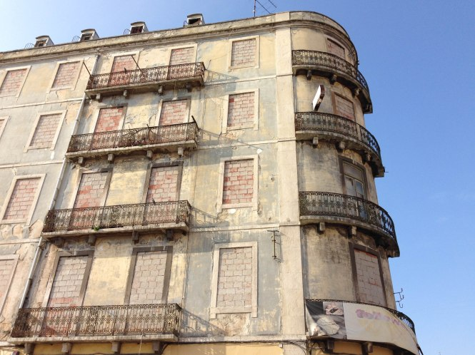 building without azulejos in lisbon, portugal