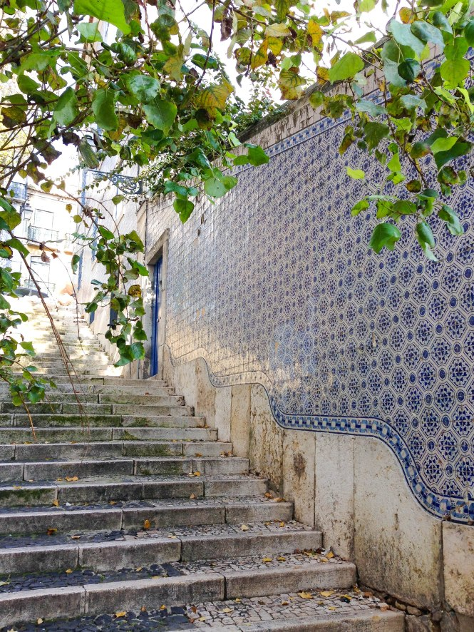 gorgeous azulejo wall colorful tiles in lisbon portugal