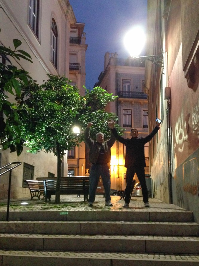 miles and dad race in bairro alto lisbon portugal