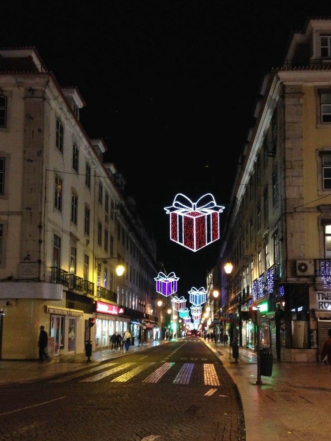 christmas lights in lisbon portugal