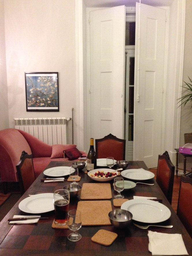 dinner at rental apartment in lisbon portugal