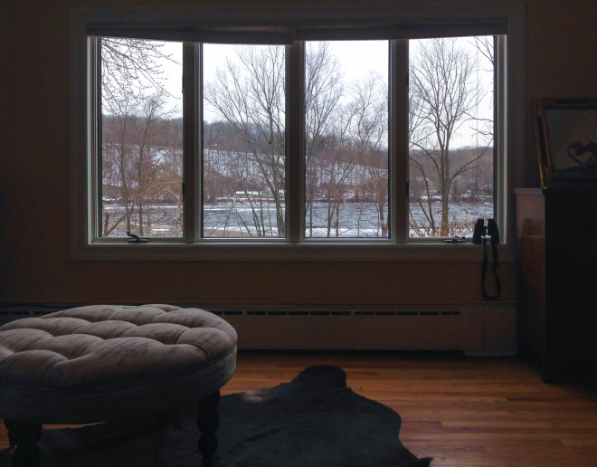 View from our Airbnb on the Delaware River in Lambertville, NJ
