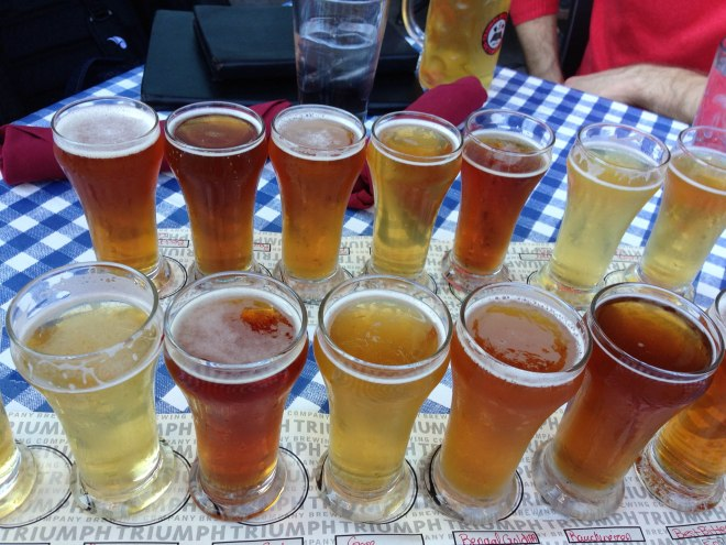 Beer flights at Triumph Brewing Company in New Hope, PA