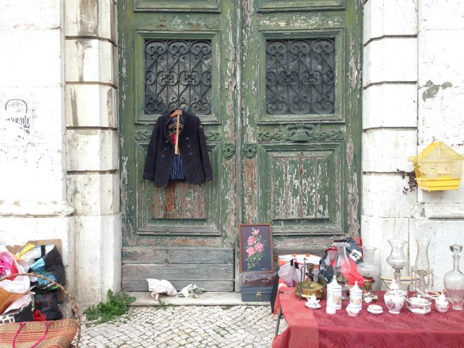 Feira da Ladra flea market in Alfama, Lisbon, Portugal