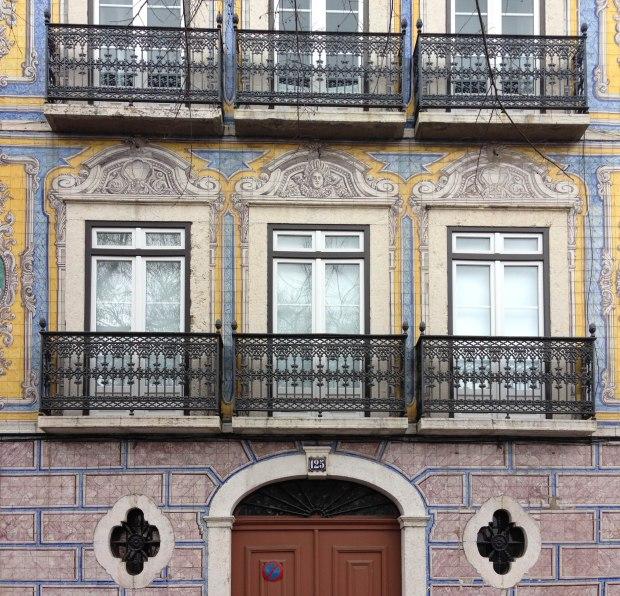 Azulejo on the streets of Alfama, Lisbon, Portugal
