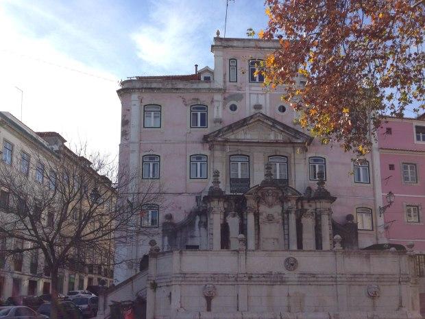 Beautiful buildings in Bairro Alto Lisbon, Portugal