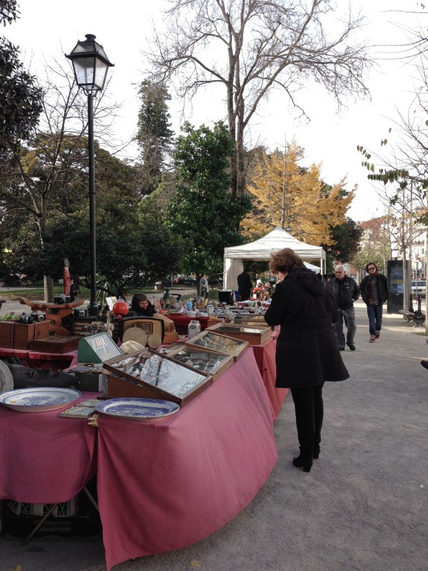 Flea market in Principe Real, Lisbon, Portugal